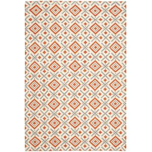 Dhurries Ivory / Tangerine Area Rug