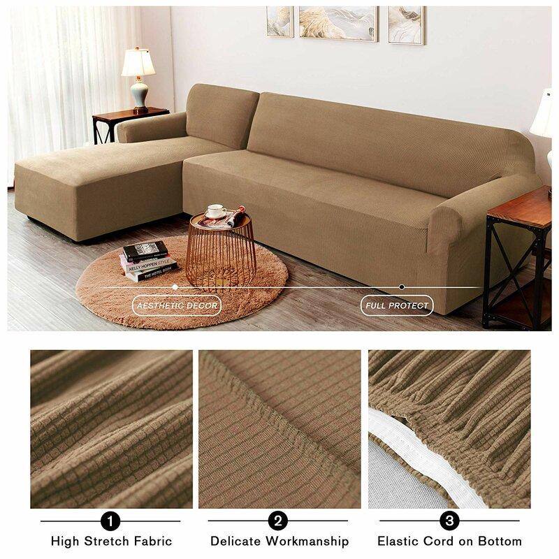 L-Shaped Plaid Box Cushion Sofa Slipcover