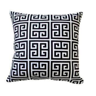 D L  Rhein Embroidered Greek Key Linen Throw Pillow & Reviews   Wayfair