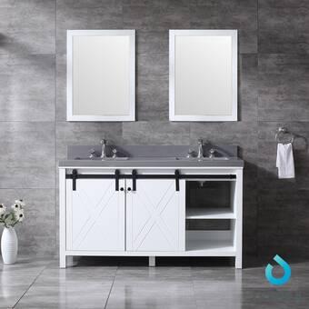 Gracie Oaks Schmidt 60 Double Bathroom Vanity Set With Mirror