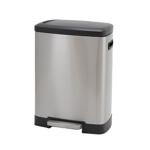 Design Trend Rectangle Stainless Steel 13 Gallon Step On Trash Can