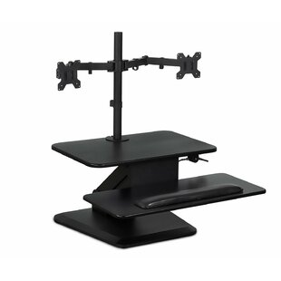 Degraw Sit Workstation Height Adjustable Converter Standing Desk with Dual Monitor Mount Combo