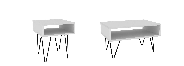 Wrought Studio Kenosha Mid Century Modern 2 Piece Coffee Table Set