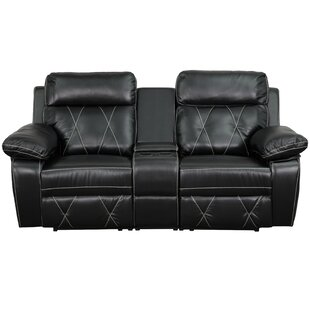 Traditional Leather Home Theater Recliner by Red Barrel Studio