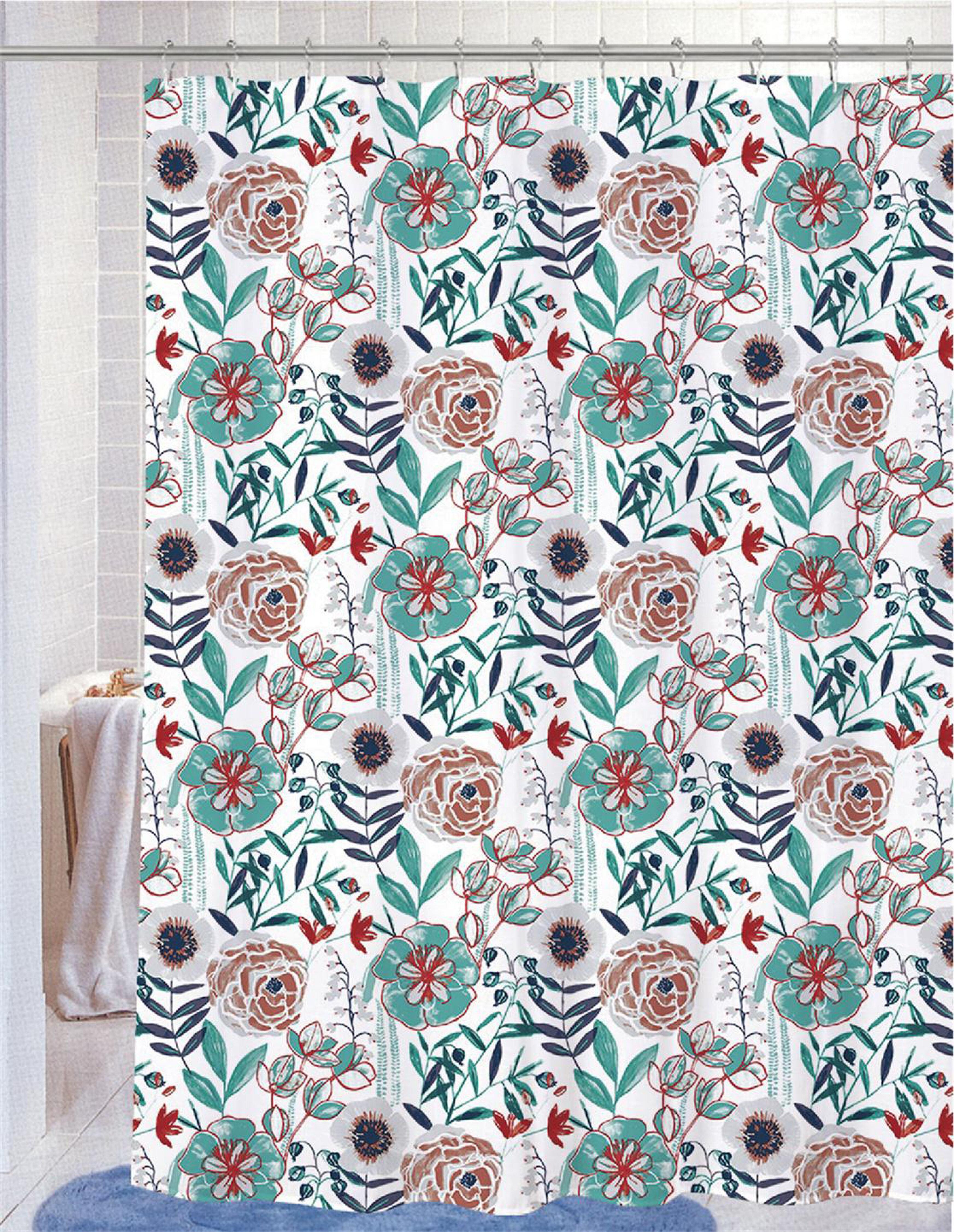 Red Barrel Studio Recdo 13 Piece Floral Shower Curtain Set Hooks Wayfair