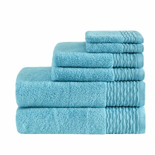 Dash Jacquard Wavy Border Zero Twist Cotton 6 Piece Towel Set