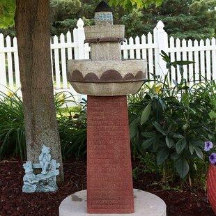 Longshore Tides Christopher Fiberglass Brick Lighthouse Water Fountain with Light