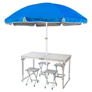 Lightweight Folding Camp Table 6.5' Drape Umbrella by Trademark Innovations