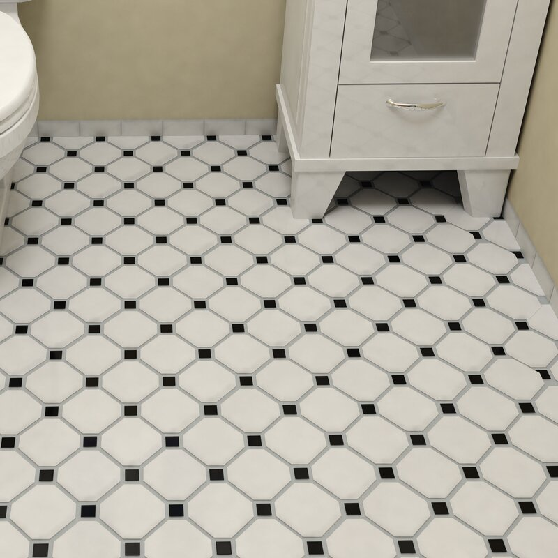 Retro Super Octagon 11 625 X Porcelain Mosaic Tile In Matte White With Glossy