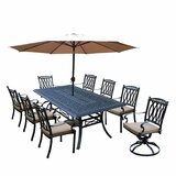 Otsego 9 Piece Rust Resistant Aluminum Dining Set with Cushions