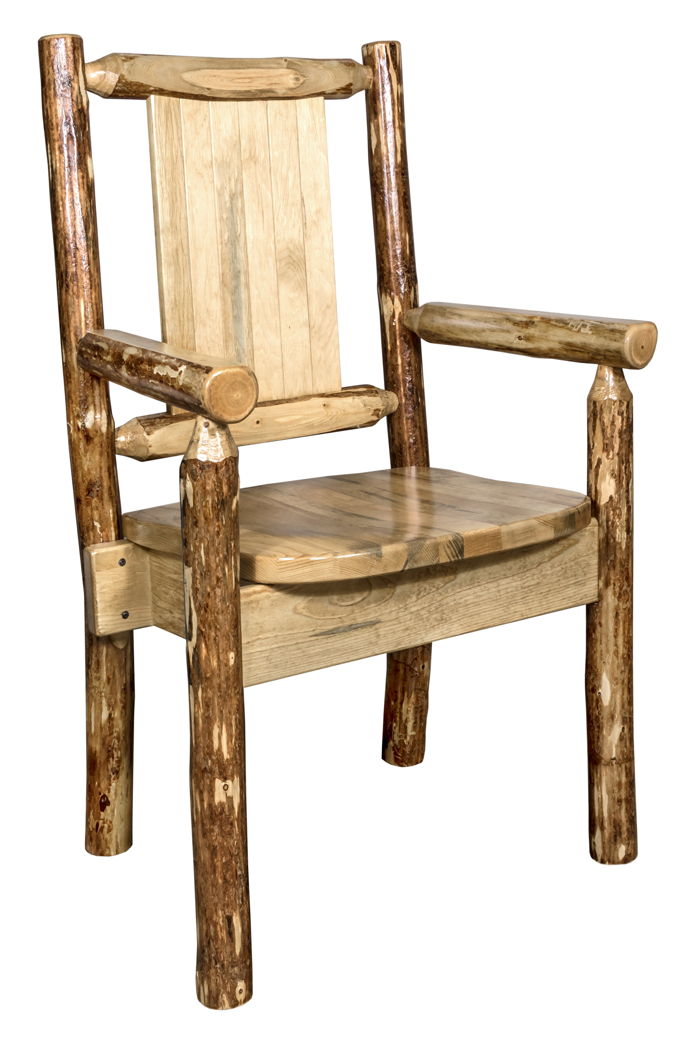 Rivas Rustic Captain\'s Solid Wood Dining Arm Chair