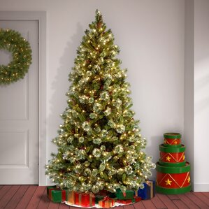 Pine Pre Lit 7u0027 Pine Artificial Christmas Tree With 650 Clear Lights And  Stand