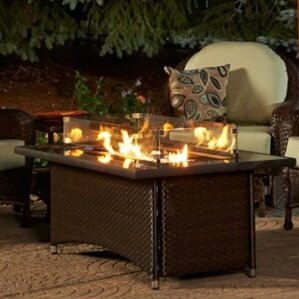 Montego Crystal Fire Pit Coffee Table With Wicker Base