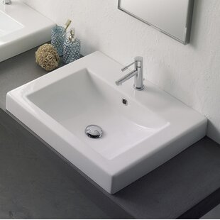 Price Check Ceramic Rectangular Drop-In Bathroom Sink with Overflow ByScarabeo by Nameeks
