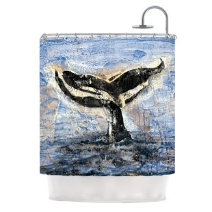 Whale Tail by Josh Serafin Coastal Painting Single Shower Curtain
