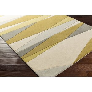 Dewald Hand Tufted Green Neutral Area Rug
