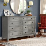 Woodside 9 Drawer Dresser with Mirror by Three Posts™