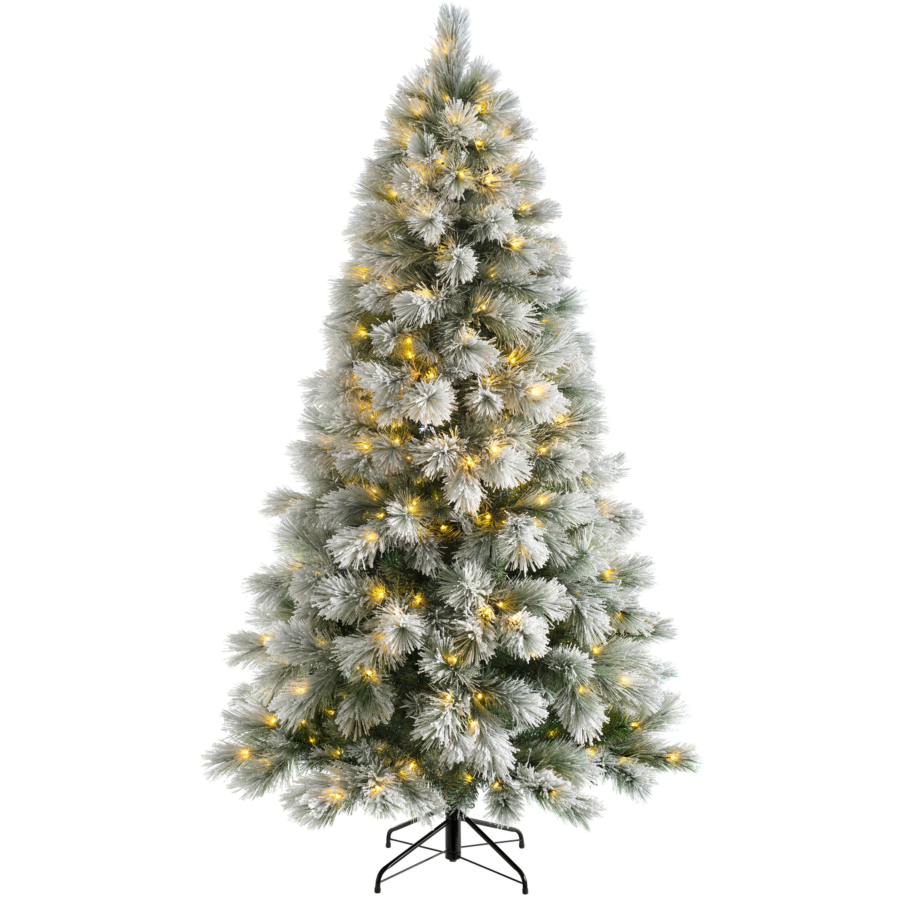 competitive price 7e090 ba3dd 5ft Snow Flocked Pine Artificial Christmas Tree with 150 Coloured and White  Lights
