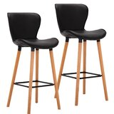 Hewlett Wingback Seat PU Leather 30.12 Bar Stool (Set of 2) by George Oliver