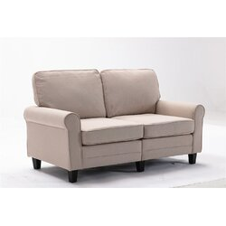 Red Barrel Studio Modern Fashion Minimalist Style Love Seat Traditional Soft Upholstered 61 Inch Loveseat Sofa Comfortable Apartment Couch With 2 Seat Brown Weave