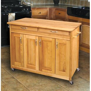 Ermengarda Kitchen Cart Solid Wood by Winston Porter