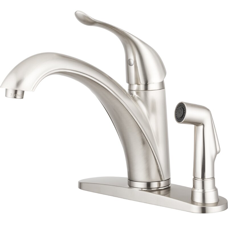 Pacific Bay Medina Arc Spout Single Handle Kitchen Faucet With Side Spray Wayfair