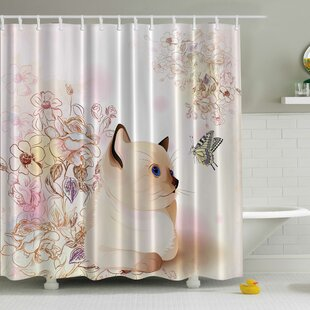 Cute Kitten Print Single Shower Curtain