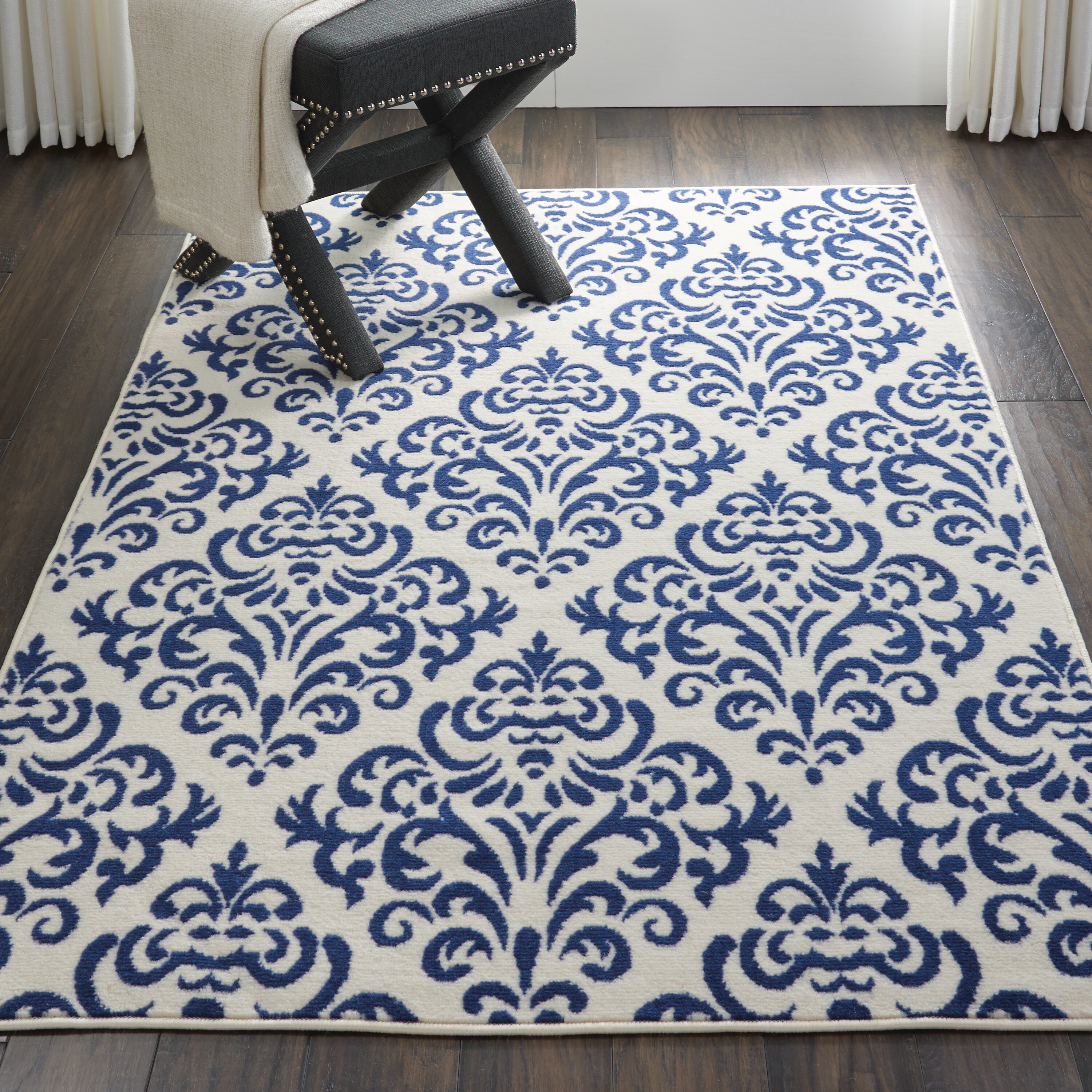 Picture of: Florissant Geometric Off White Navy Blue Area Rug Reviews Birch Lane