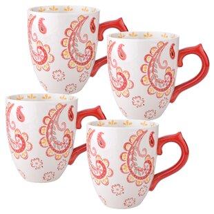 Ostlund 14 oz. Mug Set Paisley Floral Set (Set of 4)