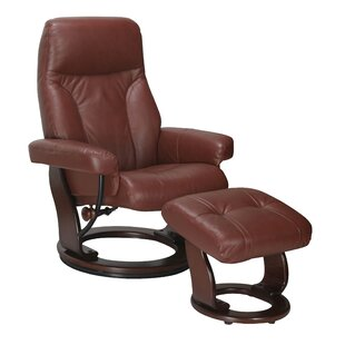 Winston Porter Rodolfo Leather Manual Swivel Glider Recliner with Ottoman