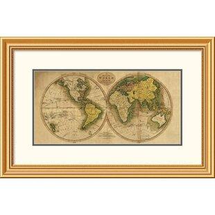 Framed world map wayfair world map framed print gumiabroncs Image collections