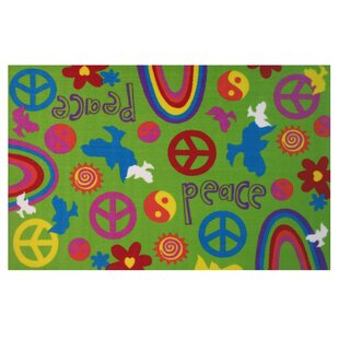 Order Fun Time Peace and Harmony Green Area Rug By Fun Rugs