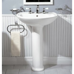 Affordable Cadet Ceramic 25 Pedestal Bathroom Sink with Overflow By American Standard