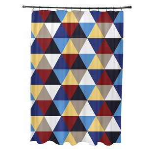 Subline Geometric Single Shower Curtain by e by design Discount