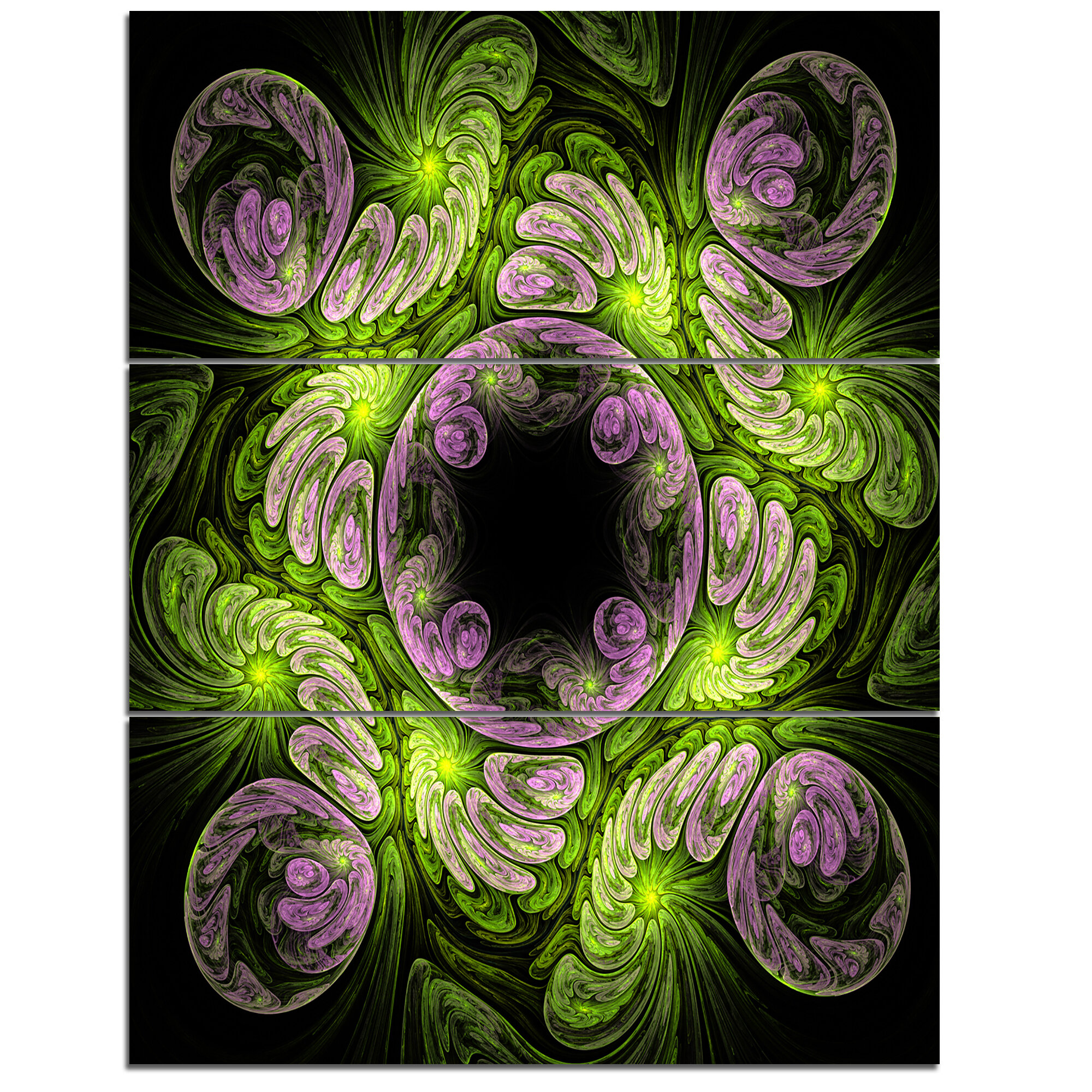 Designart Glittering Dark Fractal Flower 3 Piece Graphic Art On Wrapped Canvas Set Wayfair