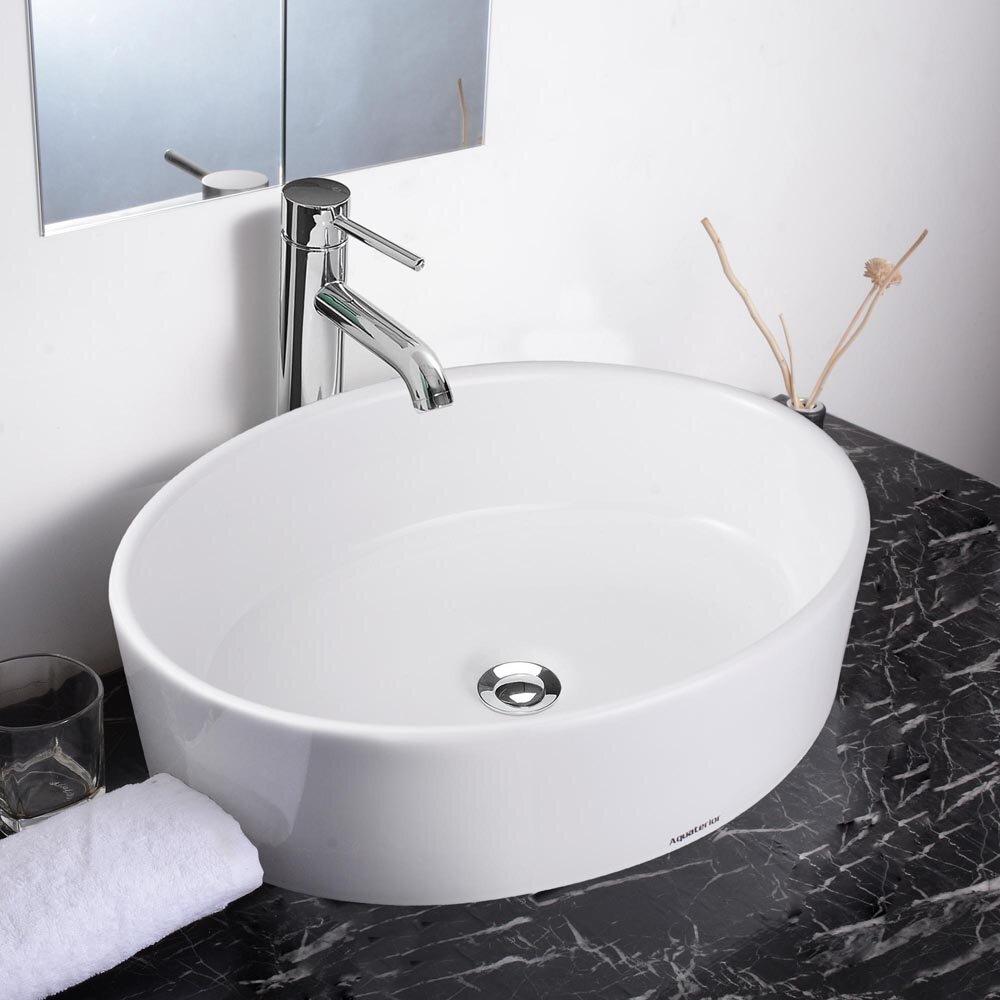 Aquaterior White Oval Vessel Bathroom Sink Wayfair