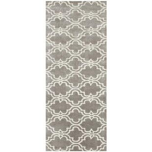 Ladd Trellis Wool Hand-Tufted Silver Area Rug by Charlton Home