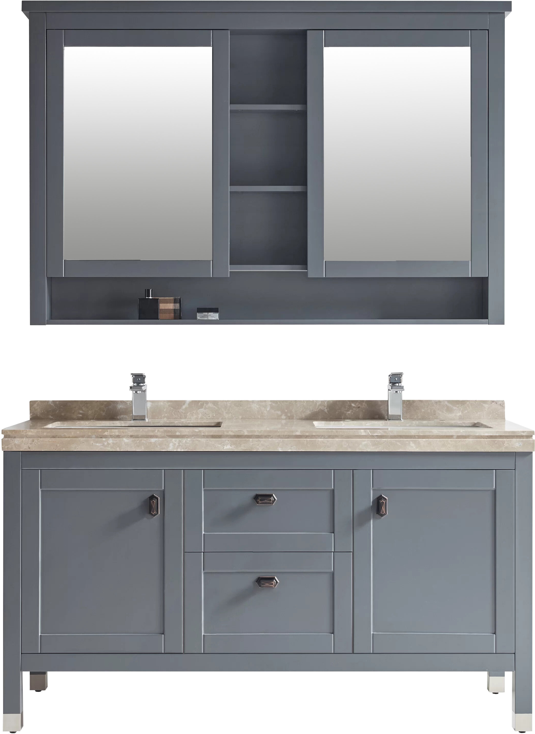 Three Posts Keisler 60 Double Bathroom Vanity Set With Mirror Wayfair