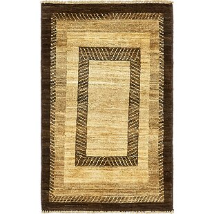 Reviews One-of-a-Kind Nash Hand-Knotted  1'10 x 3' Wool Black/Beige Area Rug By Isabelline