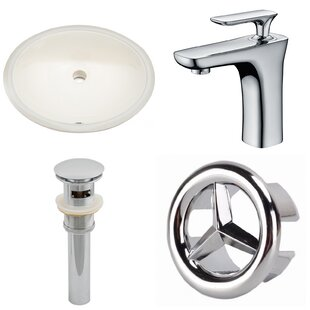 American Imaginations CUPC Ceramic Oval Undermount Bathroom Sink with Faucet and Overflow