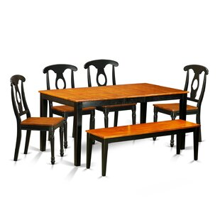 Pillar Traditional 6 Piece Wood Dining Set with Rectangular Table Top
