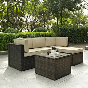Belton 5 Piece Rattan Modular Seating Group with Cushions