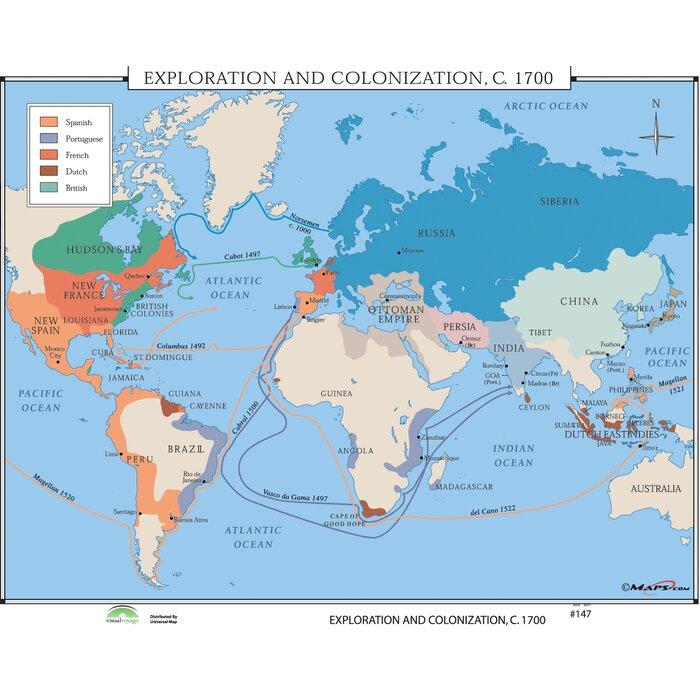 Australia Map 1700.World History Wall Maps Exploration Colonization 1700