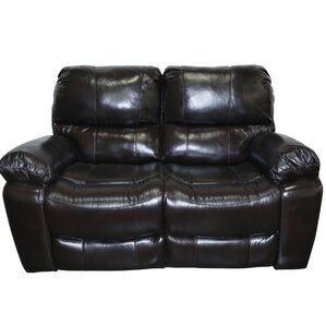 Gracehill Modern Leather Reclining Loveseat by Three Posts