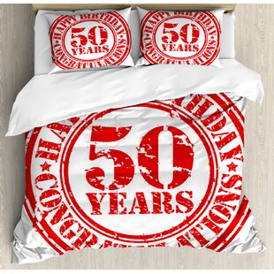 50th Birthday Decorations Grungy Display Rubber Stamp Fifty Years Old Congratulation Icon Duvet Set