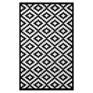 Affordable Nirvana Black/White Indoor/Outdoor Area Rug By Green Decore