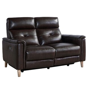 Yoshioka Leather Reclining Loveseat