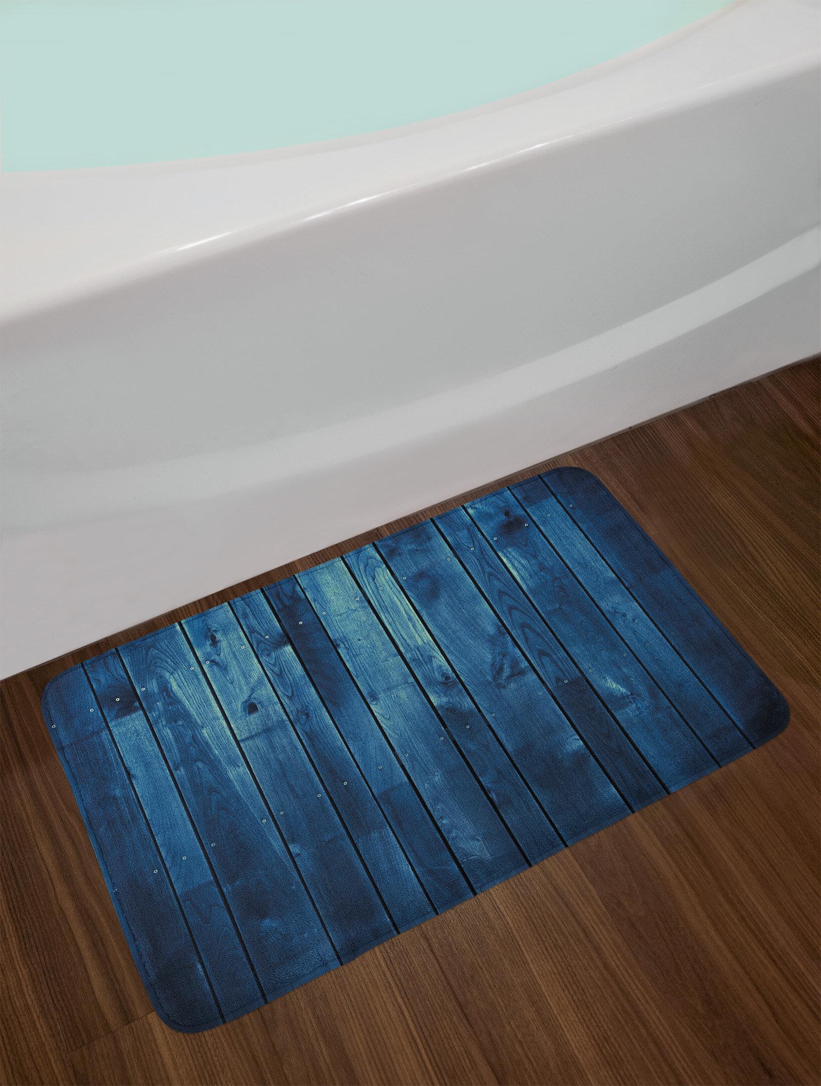 Wooden Dark Blue Bath Rug