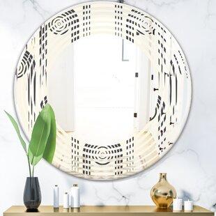 Wave Curved Minimal Geometric Ornament II Modern Frameless Wall Mirror by East Urban Home