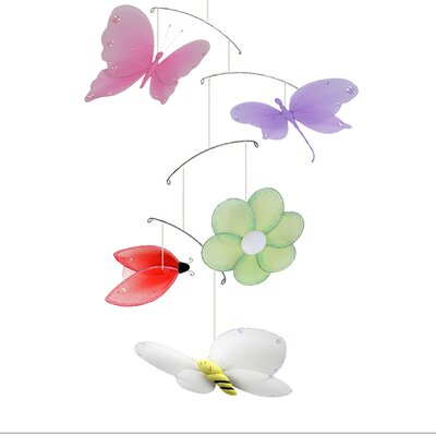 Jewel Butterfly Dragonfly Ladybug Flower Bee Nylon Hanging Mobile Bugs-n-Blooms